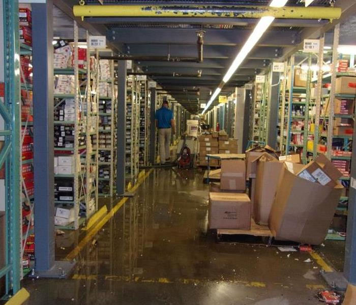 Standing water in warehouse.