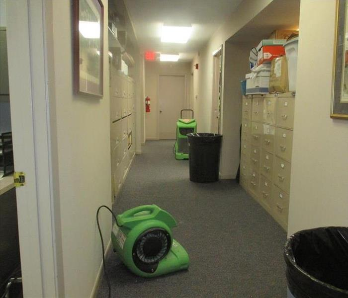 Drying equipment on floor.