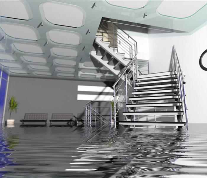Flooded commercial space.