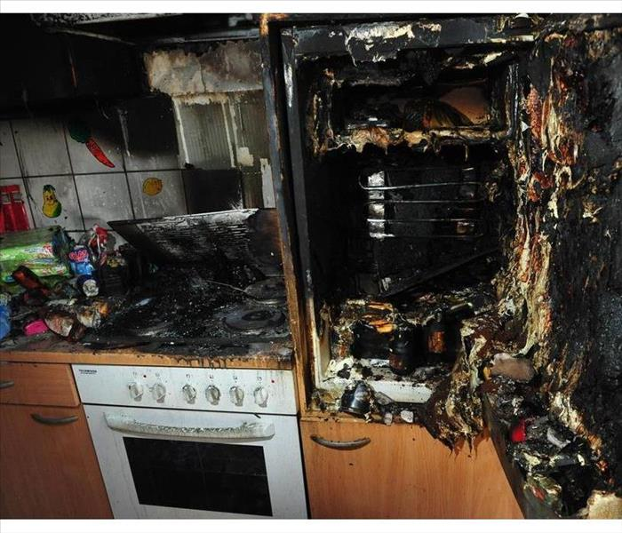 Burned kitchen after fire