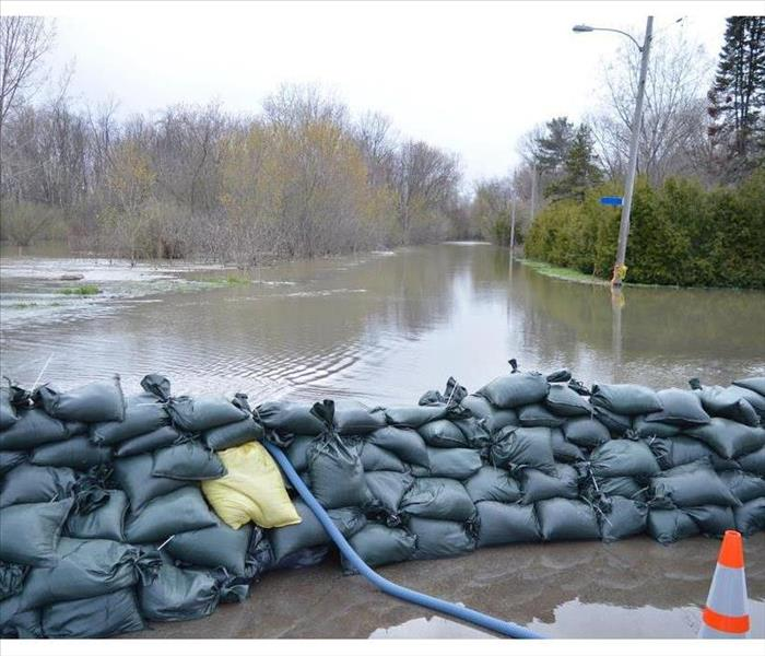 Sandbags protecting a neighborhood